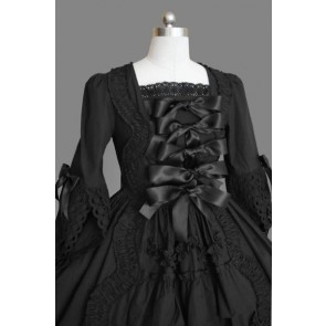 Black Lace Bows Cotton Classic Lolita Dress