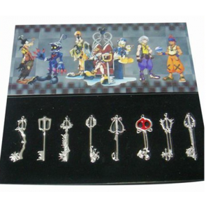 Silver Kingdom Hearts Pendant Set