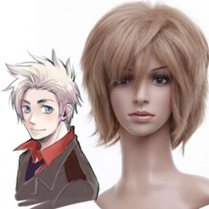 32cm Golden Flax Mixed Axis Powers Hetalia Denmark Nylon Cosplay Wig