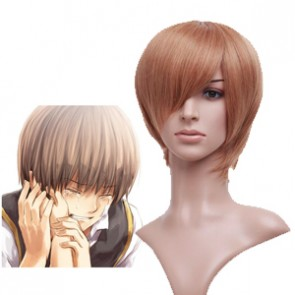 32cm Golden Flax Mixed Gintama Okita Sougo Cosplay Wig