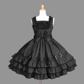 Black Ruffles Bows Elegant Gothic Lolita Dress