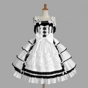 Black And White Sleeveless Bandage Stylish Gothic Lolita Dress