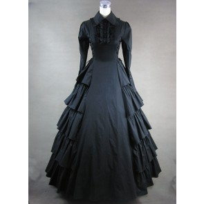 Black Long Sleeves Floral Double-Layer Cotton Lolita Prom Dress