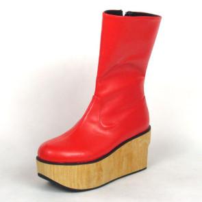 "Red 2.0"" Heel High Cute PU Round Toe Cross Straps Platform Girls Lolita Boots"