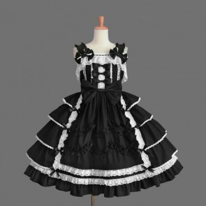 Black And White Sleeveless Stylish Gothic Lolita Dress