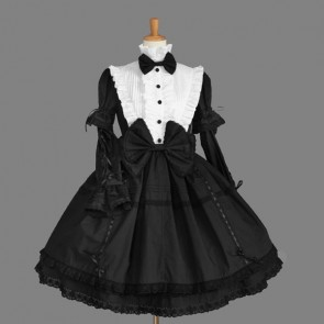 Black And White Long Sleeves Elegant Gothic Lolita Dress