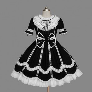 Black And White Short Sleeves Elegant Gothic Lolita Dress