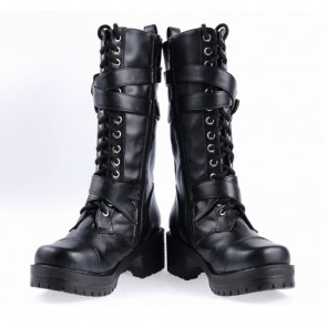 "Black 2.2"" High Heel Stylish Patent Leather Straps Buckles Classic Lady Lolita Boots"