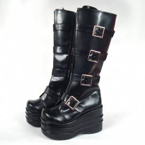 "Black 3.9"" Heel High Beautiful PU Round Toe Stud Buckles Platform Lady Lolita Boots"