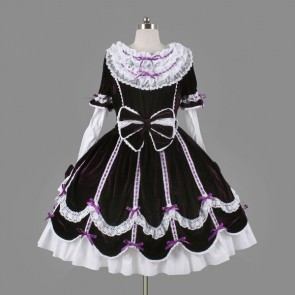 Black And White Short Sleeves Elegant Gothic Lolita Dress with Bow Tie