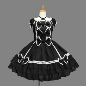 Cotton Black And White Sleeveless Gothic Lolita Dress