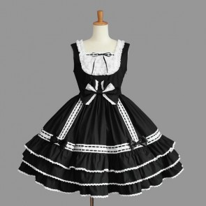 Black And White Cotton Sleeveless Bow Gothic Lolita Dress