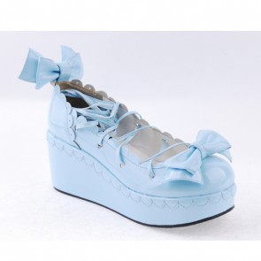 "Sky-blue 2.8"" High Heel Lovely Polyurethane Scalloped Bowknot Platform Girls Lolita Shoes"