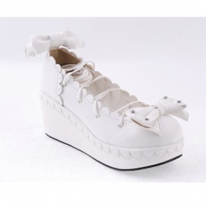 "White 2.8"" High Heel Adorable Synthetic Leather Scalloped Bow Decoration Platform Girls Lolita Shoes"