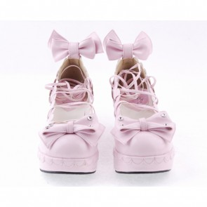 "Pink 2.8"" High Heel Cute PU Scalloped Bowknot Platform Girls Lolita Shoes"