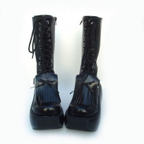"Black 3.9"" Heel High Sexy Suede Round Toe Cross Straps Platform Lady Lolita Boots"