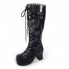 "Black 3.0"" Heel High Beautiful Polyurethane Round Toe Bow Platform Girls Lolita Boots"