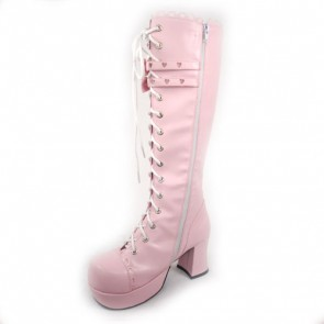 """Pink 3.0"""" Heel High Lovely Patent Leather Round Toe Bow Platform Girls Lolita Boots"""
