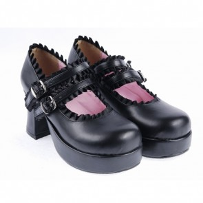 "Black 3"" High Heel Classical Polyurethane Scalloped Cross Straps Buckle Platform Girls Lolita Shoes"