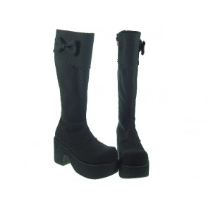 "Black 3.9"" Heel High Charming Synthetic Leather Round Toe Cross Straps Platform Girls Lolita Boots"