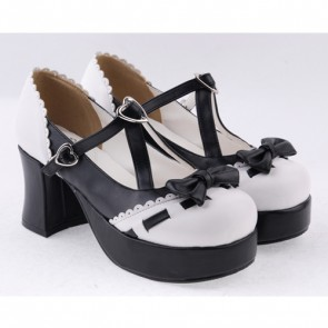 "Black & White 3"" High Heel Special Synthetic Leather Strap Bow Decoration Platform Girls Lolita Shoes"