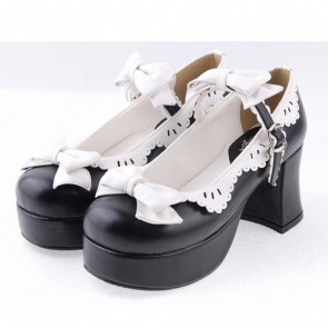 "Black & White 3"" High Heel Elegant Polyurethane Round Toe Strap Bow Decoration Platform Girls Lolita Shoes"