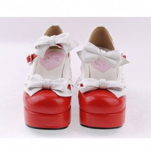 "Red & White 3"" High Heel Sexy Patent Leather Round Toe Strap Bow Platform Girls Lolita Shoes"