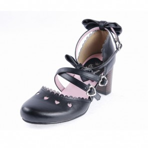 "Black 2.6"" High Heel Glamorous PU Round Toe Criss Cross Straps Bow Platform Girls Lolita Shoes"