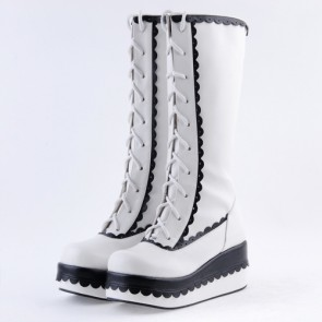 "Black and White 2.8"" Lovely PU Round Toe Sweet Girls Lolita Boots"