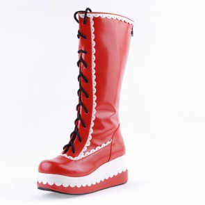 "Red and White 2.8"" Stylish PU Round Toe Sweet Girls Lolita Boots"
