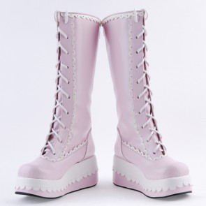 "Pink and White 2.8"" Adorable PU Round Toe Sweet Girls Lolita Boots"