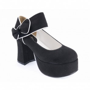 "Black 3.7"" High Heel Romantic Flannel Round Toe Bandage Platform Girls Lolita Shoes"