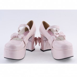 "Pink 3.7"" High Heel Lovely Polyurethane Round Toe Strap Bow Platform Girls Lolita Shoes"