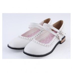 "White 1"" High Heel Charming Polyurethane Round Toe Double Straps Platform Girls Lolita Shoes"