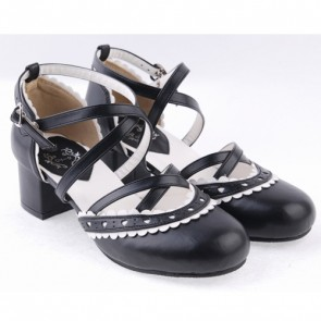 "Black & White 2.6"" High Heel Lovely PU Round Toe Criss Cross Straps Scalloped Platform Girls Lolita Shoes"