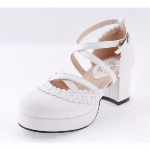 "White 2.6"" High Heel Elegant PU Round Toe Criss Cross Straps Scalloped Platform Girls Lolita Shoes"