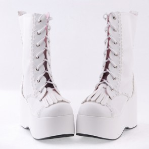 "White 3.5"" High Heel Cute Patent Leather Round Toe Mid-calf GirlsLolita Boots"