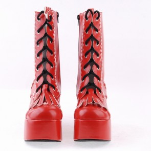 "Red 3.5"" High Heel Beautiful Patent Leather Round Toe Mid-calf LadyLolita Boots"