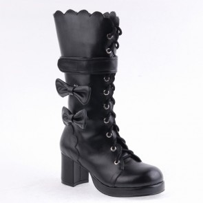 "Black 2.6"" Heel High Special PU Round Toe Bow Platform Lady Lolita Boots"