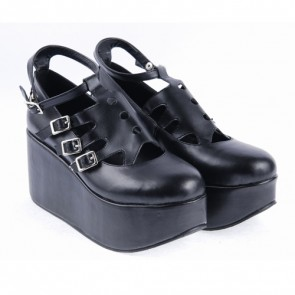 "Black 3.1"" High Heel Classic Patent Leather Round Toe Punk Style Buckle Platform Girls Lolita Shoes"