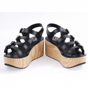 "Black 3.1"" Heel High Beautiful PU Round Toe Cross Straps Platform Girls Lolita Sandals"