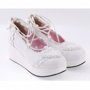 "White 2.4"" High Heel Sexy PU Scalloped Lace Tie Platform Girls Lolita Shoes"