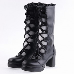 "Black 2.6"" Heel High Sexy Suede Round Toe Criss Cross Straps Platform Lady Lolita Boots"