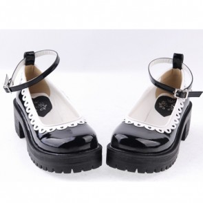 "Black2.2"" High Heel Romantic PU Round Toe Ankle Straps Platform Girls Lolita Shoes"