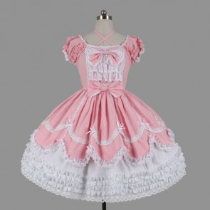Pink And White Short Sleeves Cotton Classic Lolita Dress