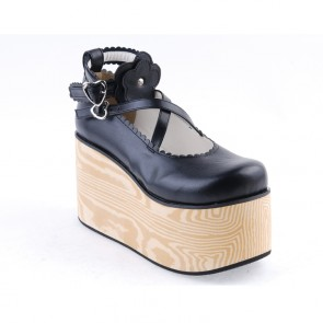 "Black 3.9"" High Heel Lovely Patent Leather Cross Straps Flower Decoration Platform Girls Lolita Shoes"