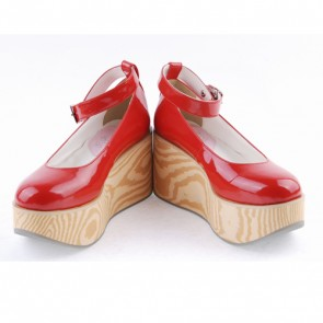 "Red 3.1"" High Heel Lovely Synthetic Leather Pointed Toe Ankle Straps Platform Girls Lolita Shoes"