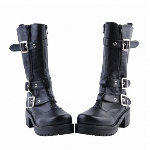"""Black 2.2"""" High Heel Gorgeous Patent Leather Ankle Straps Punk Style Women's Lolita Boots"""