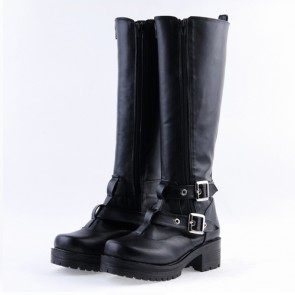 "Black 2.2"" High Heel Charming Patent Leather Cross Straps Punk Rock Women's Lolita Boots"