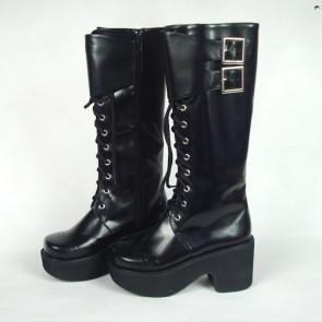 "Black 3.5"" Heel High Lovely Polyurethane Round Toe Cross Straps Platform Girls Lolita Boots"